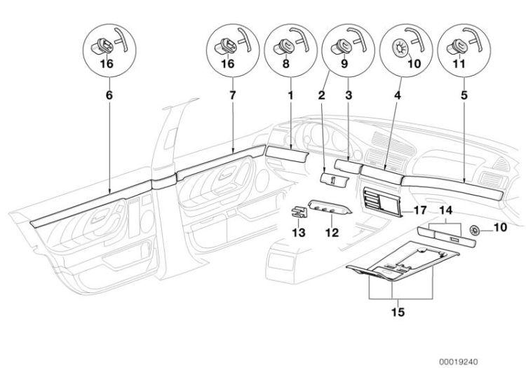 Original BMW Wooden strip,instrument panel right 8er E31