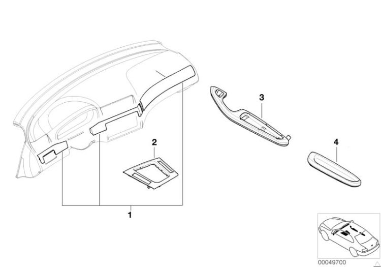 Original MINI Armrest, aluminium, rear right 3er E90