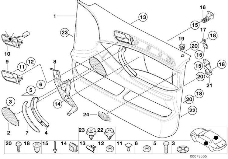 Original BMW Blende Lautsprecher links X5 E70 GRAU