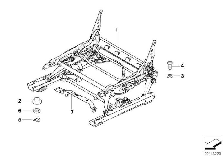 Original BMW seat mechanism right Z4 Roadster E89