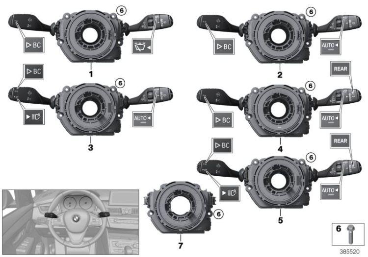 Original BMW Switch cluster steering column 3 E46