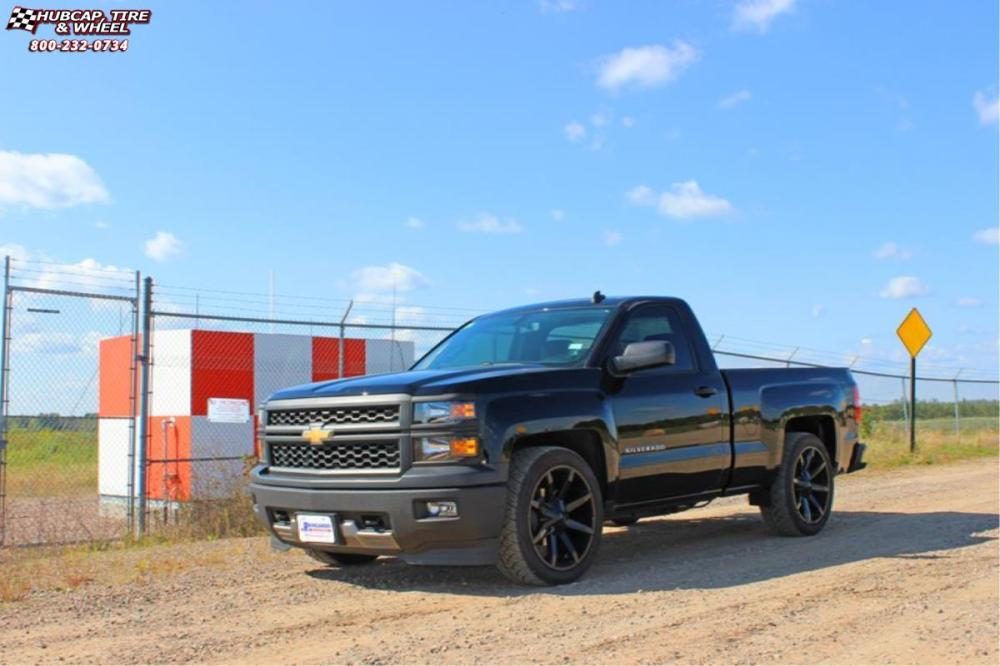 medium resolution of 2014 chevrolet silverado 1500 xd series km651 slide gloss black wheels and rims