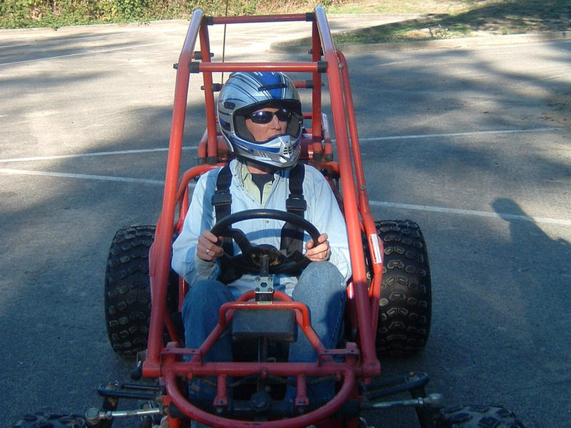 picture of Lori in dune buggy
