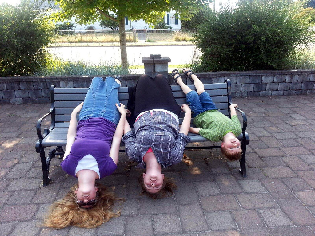 Picture of kids on a park bench