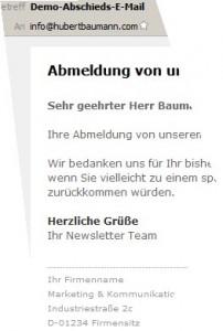 Demo-Abschieds-E-Mail