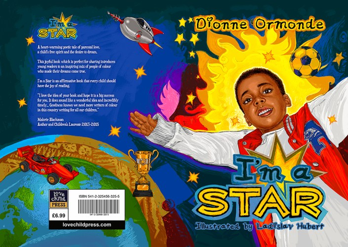 Dionne Ormonde - I'm a star children's book illustration front and back cover illustration by hubertfineart