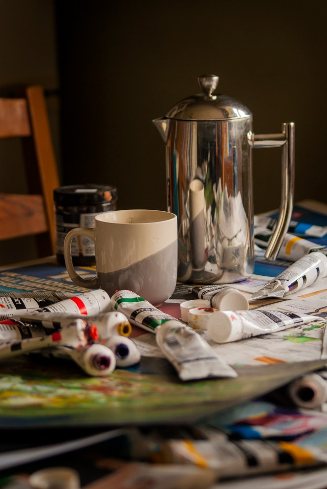 still life painting with coffee and liquitex image 3