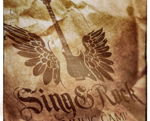 sing and rock music camp logo old paper