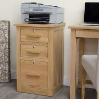 Arden solid oak furniture three drawer storage filing ...