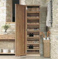 Mobel solid modern oak hallway furniture tall shoe storage
