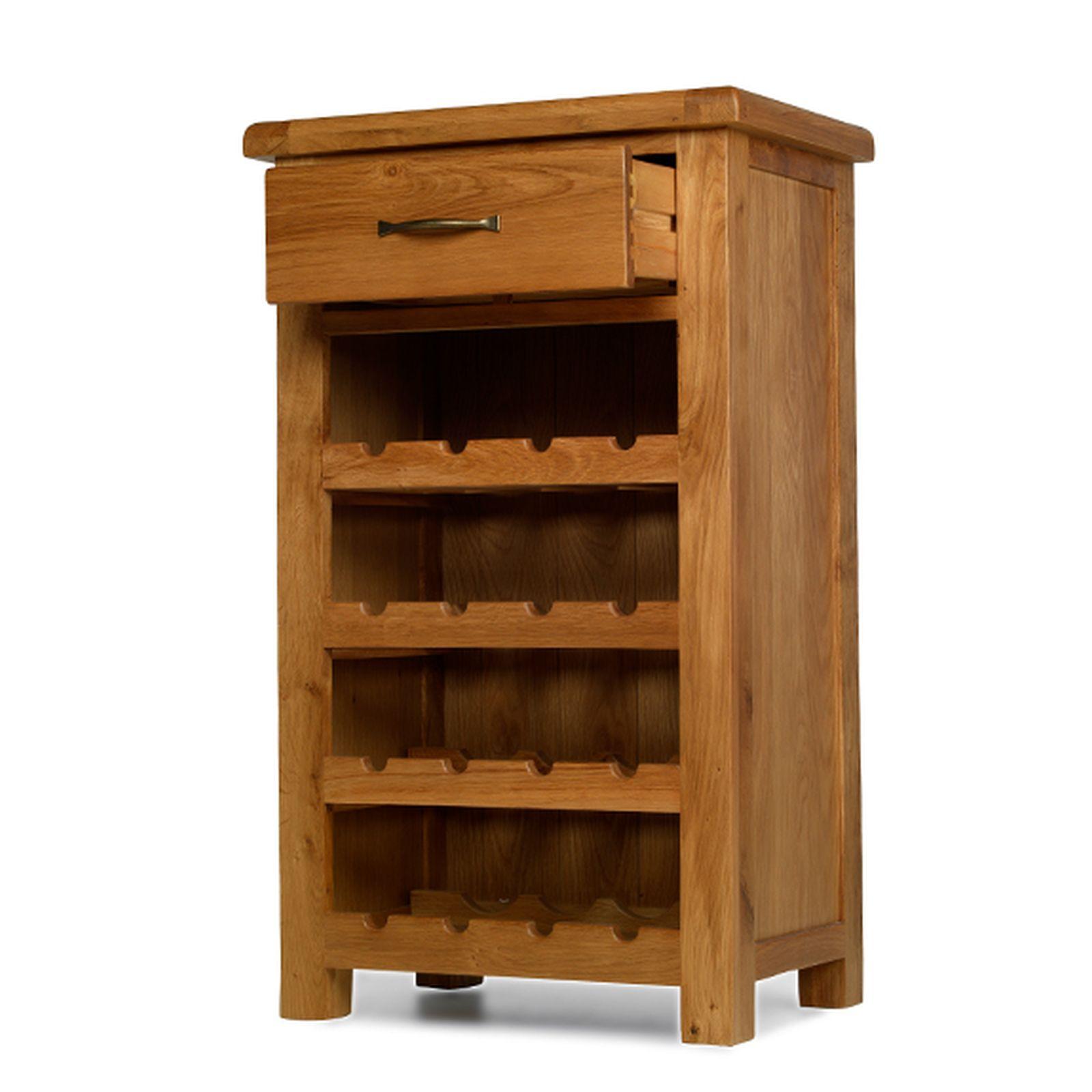 Rushden solid oak furniture small wine bottle cabinet rack