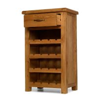 Rushden solid oak furniture small wine bottle cabinet rack ...