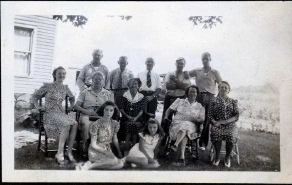 Last row: Joseph Bergman, Sam Betournay, Arthur Denis, Philip Deadware, ? Middle row: Annette Denis, Manda Bergman, Delima Betournay, Florida Deadware, Adolida Denis. First row: Hélène Denis, Marilyn Campbell