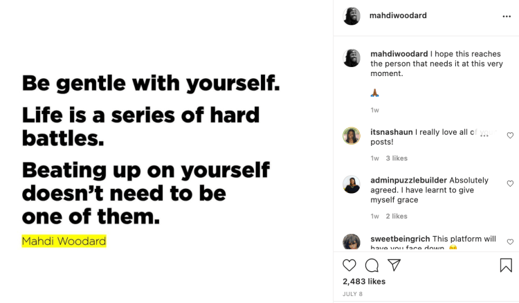 mahdi woodward post as an example of black-owned businesses on social media