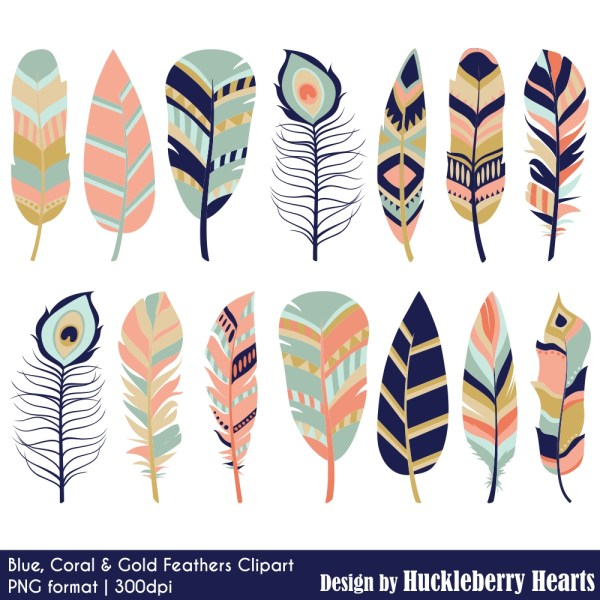 blue coral and gold feather clipart