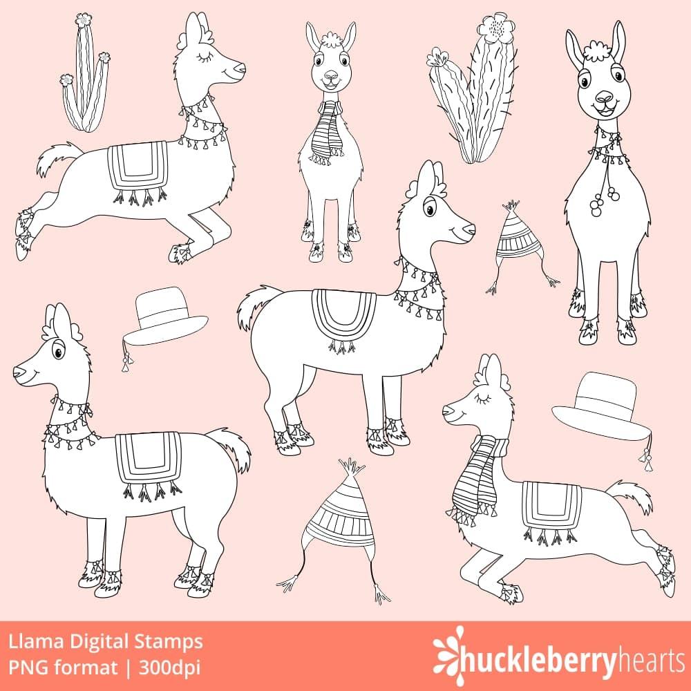llama digital stamps