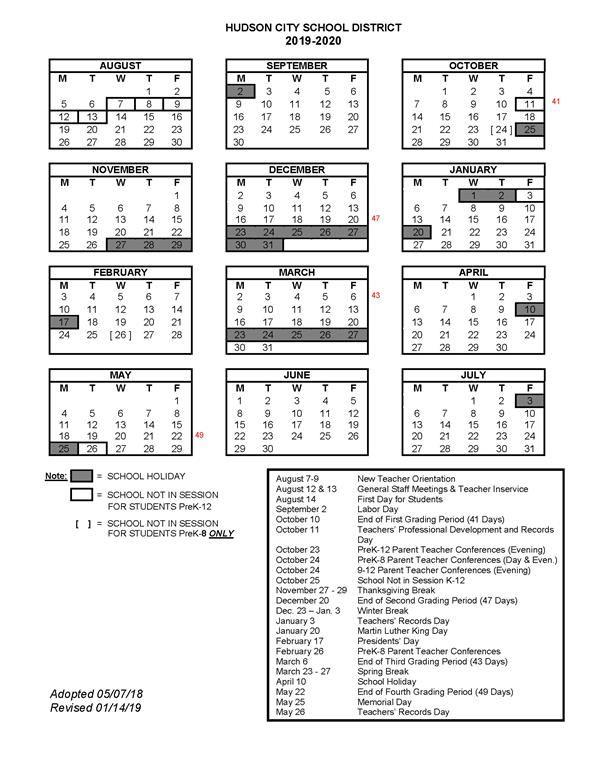 2019-2020 School Year Calendars / 2019-2020 School Calendars