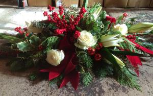 Holiday arrangement by The Red Twig