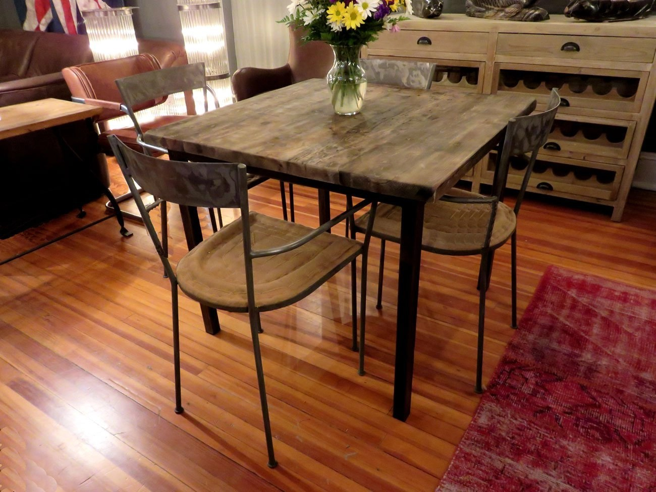 pub kitchen table ceiling fan square reclaimed wood dining - hudson goods blog