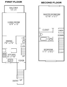 2 Bed / 1½ Bath / 1,100 sq ft / Please Call