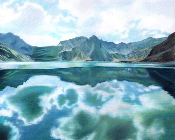 Beautiful Nature Grayscale Coloring Book Mountain Landscape