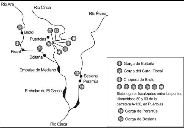 mapa de los ríos Diario del Alto Aragón