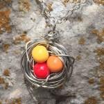 sunset bird nest necklace