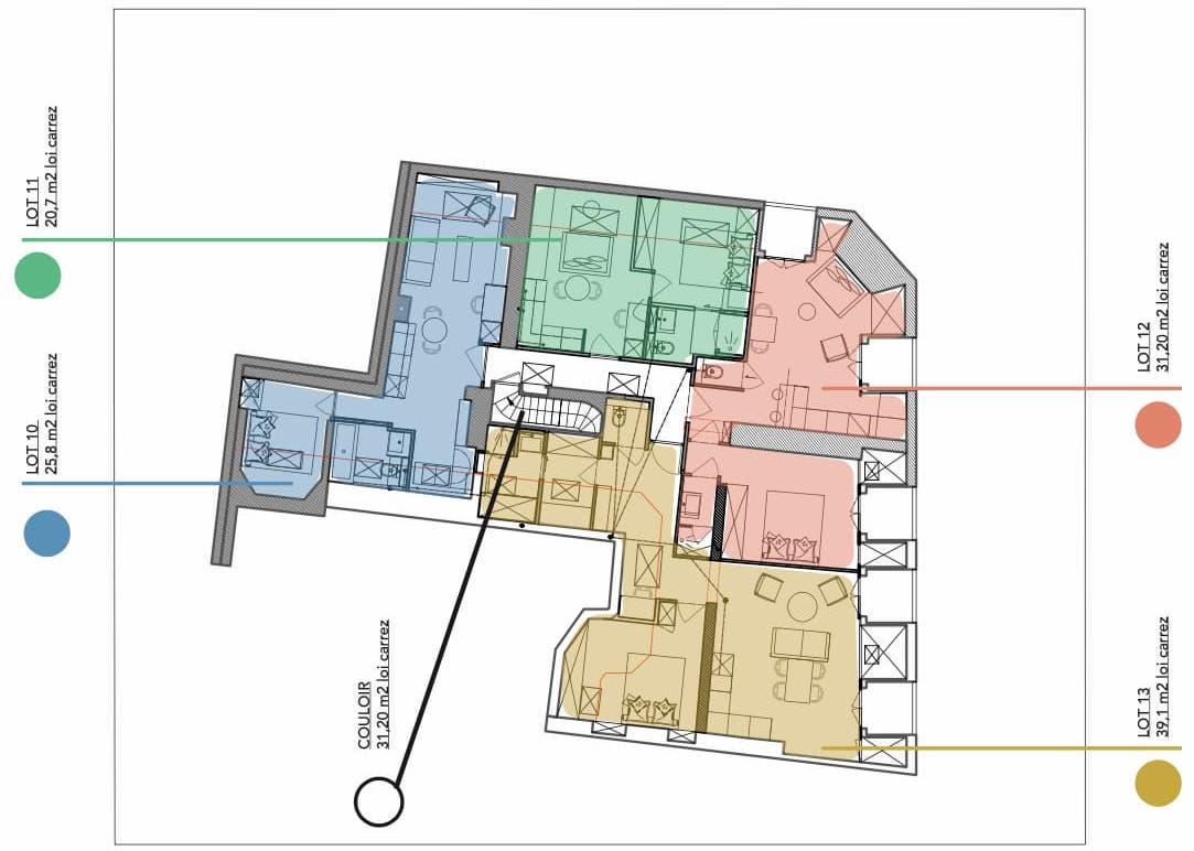 Plan des appartements redistribués