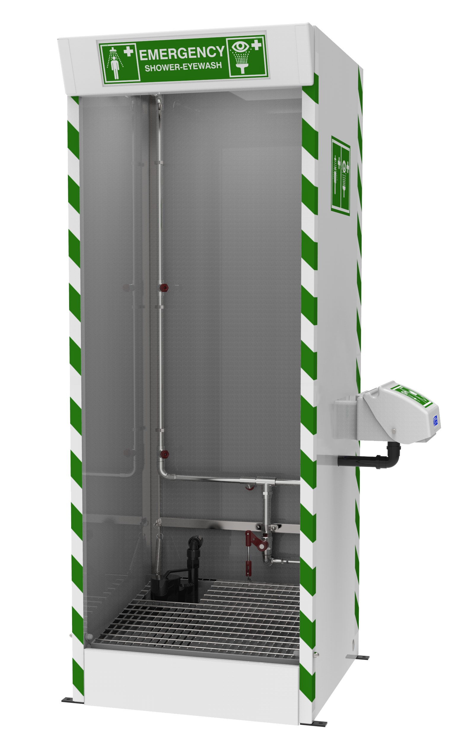 MultiNozzle Cubicle Decontamination Shower with integral drain sump STDSD31K  Hughes Safety