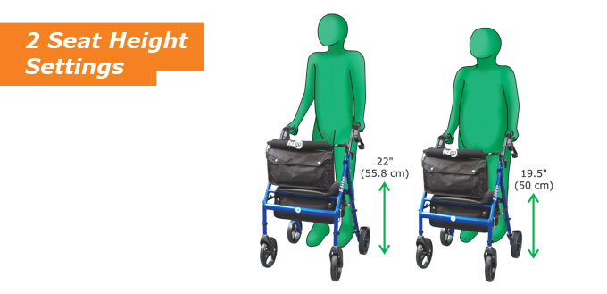 walker roller chair glider rocking replacement cushions hugo elite rolling with seat mobility 2 height settings