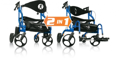walker transport chair in one hugo navigator tie on cushions rollator & – mobility