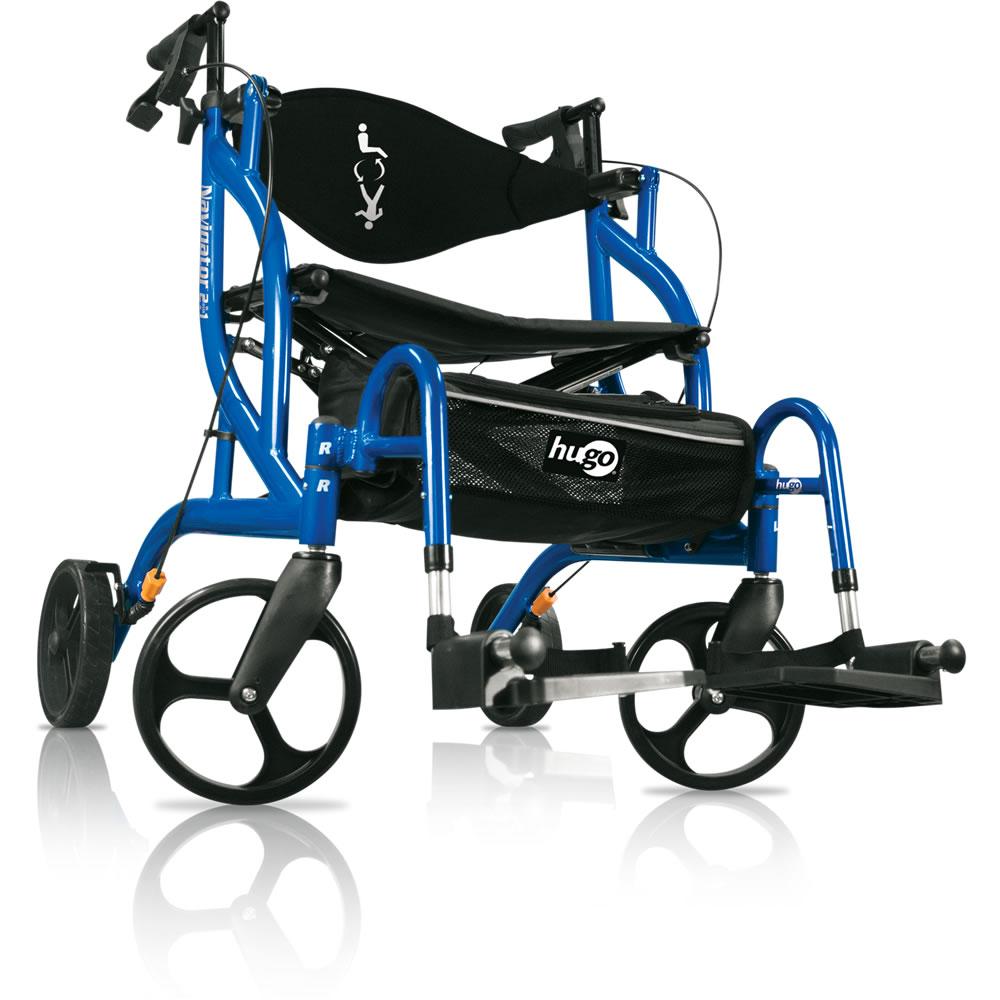 walker transport chair in one hugo navigator accent for desk rollator mobility mode