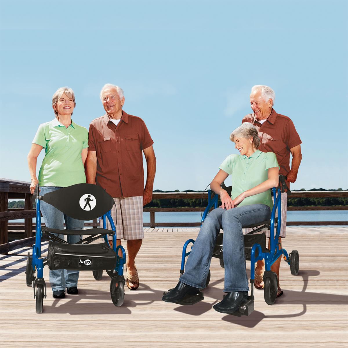 walker transport chair in one hugo navigator sitting exercises seniors rollator and  mobility