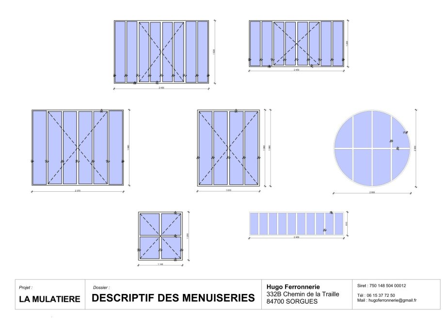 descriptif détaillé de menuiseries - hugo ferronnerie