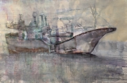"""<h5>Anchored Ship</h5><p>Watercolor on paper, 40"""" x 60"""" (102 x 152.5cm)</p>"""