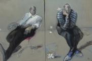 """<h5>Les Bruits de Couloir</h5><p>Mixed media on canvas, 47¼"""" x 31¾"""" (120 x 80.5cm)</p>"""