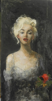 """<h5>Marilyn</h5><p>Oil & wax on canvas, 39½"""" x 19¾""""</p>"""