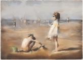 """<h5>Les Enfants et le seau vert</h5><p>Pastel on paper, 22½"""" x 30¾"""" (57 x 78cm)</p>"""