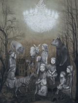 """<h5>The Gathering</h5><p>Charcoal on paper, 50 x 38"""" (127 x 96 ½cm)</p>"""