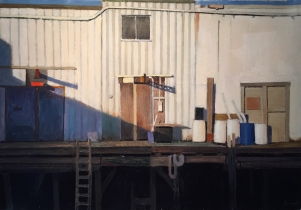 "<h5>Portland Dock</h5><p>Oil on linen, 15 x 21 ¾"" (38 x 55cm)</p>"
