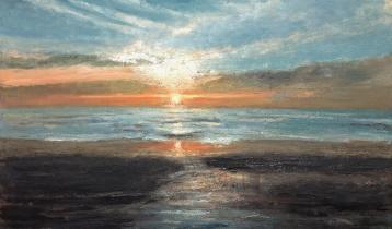 """<h5>Couchant à Matalascanas</h5><p>Oil on Canvas, 38¼"""" x  63""""</p>"""