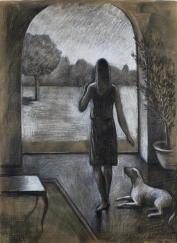 "<h5>Les Arbres</h5><p>Oil on canvas, 19"" x 31½"" (48cm x 80cm)</p>"