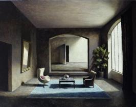 """<h5>Le Tapis Bleu</h5><p>Oil on canvas, 57½"""" x 45"""" (146cm x 114cm)</p>"""