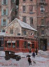 """<h5>Le petit Cafe del la rue Perronet</h5><p>Acrylic on board, 13"""" x 9 ½"""" </p>"""