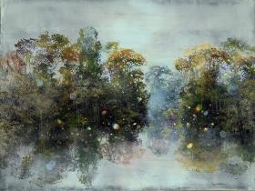 """<h5>Gaililée sur le rivage</h5><p>Mixed media on canvas (29 ½"""" x 39¼"""", 75 x 100cm) </p>"""