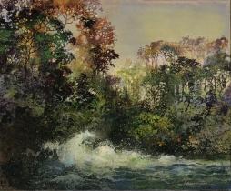 """<h5>L'écume du jour</h5><p>Mixed media on canvas (15"""" x 18"""", 38 x 46cm)</p>"""