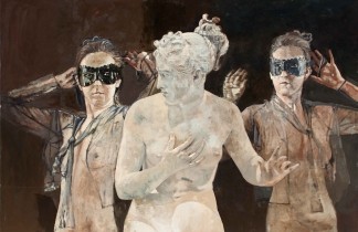 "<h5>The Masks</h5><p>Oil on Canvas. 50"" x 76"" (127 x 193 cm)</p>"