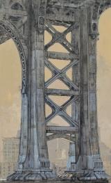 "<h5>Manhattan Bridge</h5><p>Oil on Canvas. 57"" x 35"" (145 x 89cm)</p>"