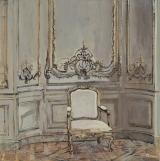 "<h5>Fauteuil Blanc</h5><p>Oil on Canvas. 20"" x 20"" (51 x 51cm)</p>"