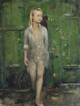 "<h5>The Girl Behind the Last Door</h5><p>Oil and wax on canvas, 38 x 51"" (97 x 130cm)																																																																																																																																																																									</p>"